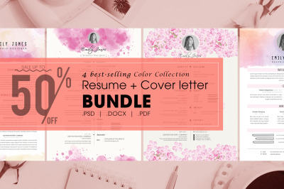 Resume Color bundle - 4  Resume & CoverLetter Template