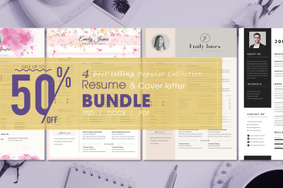 Resume Bundle Popular Collection - 4  Resume & CoverLetter Template