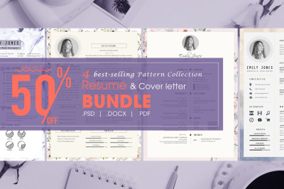 Resume pattern bundle - 4  Resume & CoverLetter Template