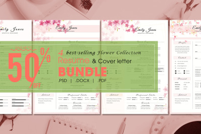 Resume Flower Bundle - 4  Resume & CoverLetter Template