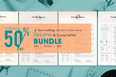 Resume Flower 2 Bundle - 4  Resume & CoverLetter Template