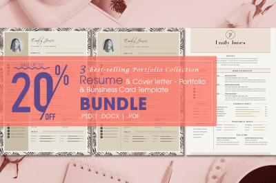 Resume Bundle portfolio collection - 4  Resume & CoverLetter Template