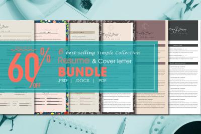 Resume simple bundle - 6  Resume & CoverLetter Template