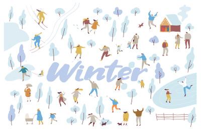 People in winter park vector set