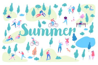 People in Summer park vector set