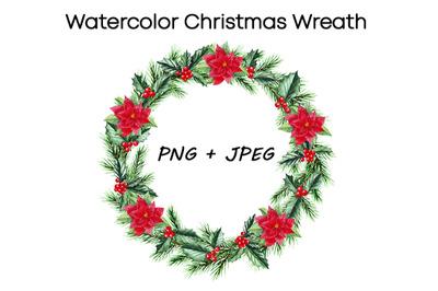 Watercolor Cristmas Wreath clipart