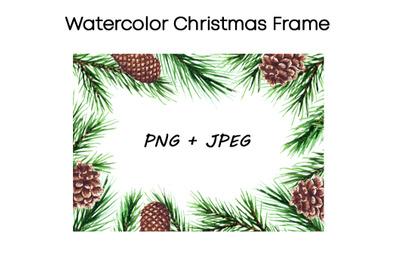 Watercolor Cristmas frame clipart