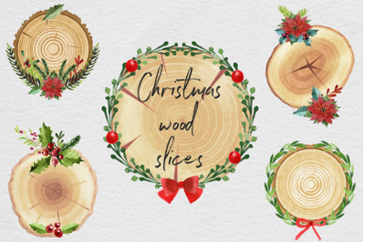 Christmas Wood Slices Clipart