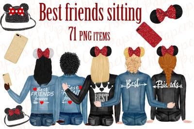 Best Friends Clipart,Custom Besties, Jeans Jackets Clipart