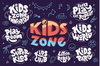 Set of kids zone hand drawn
