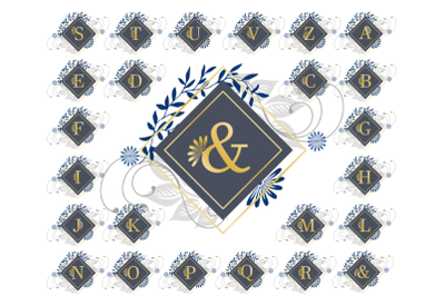 Floral Blue and Gold Deco Monogram.