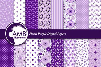 Floral Purple Digital Papers AMB-1914