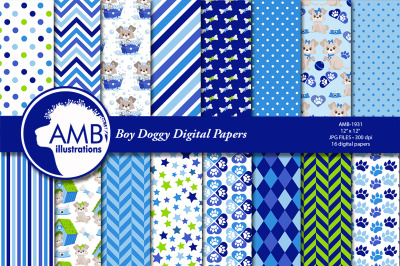 Puppy Dog Papers, Boy Dog digital papers, Blue Puppy, AMB-1931