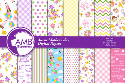 Mums Day digital paper, Aussie and English Mother's Day, AMB-1935