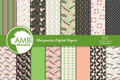 Margarita Papers, happy Hour Papers, Margarita glass Papers AMB-1957
