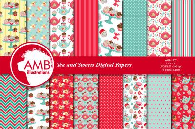Tea time digital papers, Teapot, tea cups, Cupcake papers AMB-1977