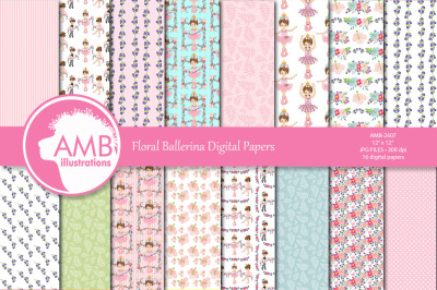 Ballet digital papers, Ballerina scrapbook papers, BAMB-2607