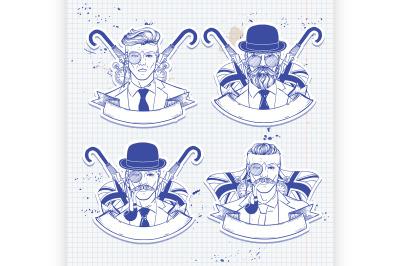 Sketch set of british men