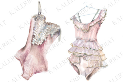 Pink watercolor dance costumes, realistic hand drawn pictures