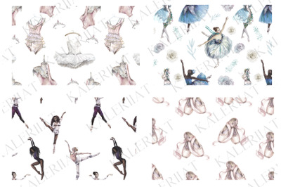 Ballet dancers patterns watercolor set