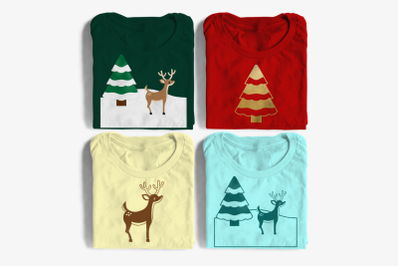 Deer with Snowy Tree   SVG   PNG   DXF