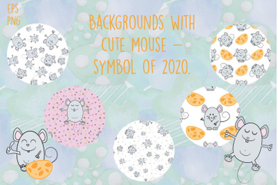 Backgrounds with cute mouse - symbol of 2020.