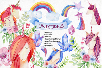 Watercolor unicorns. Kit.