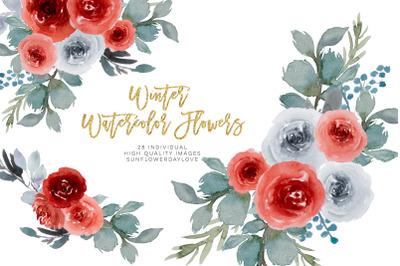 Christmas Watercolor clipart, Winter Wine Colors Bouquet Clipart