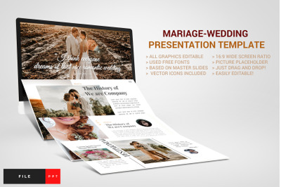 Mariage - Wedding PowerPoint Template