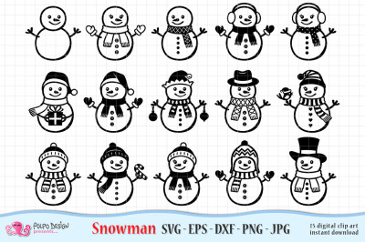 Snowman SVG, Eps, Dxf, Jpg and Png.
