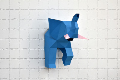 DIY Elephant Trophy - 3d papercraft