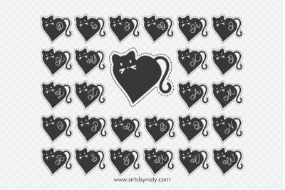 Valentine Cat Monogram