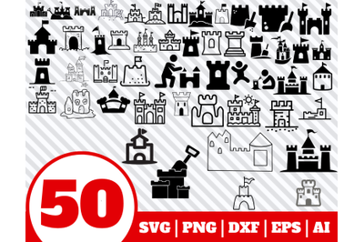 50 Sand Castle SVG BUNDLE - Sand Castle clipart - Sand Castle vector