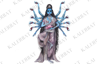 Watercolor India goddess Kali, religion esoteric illustration