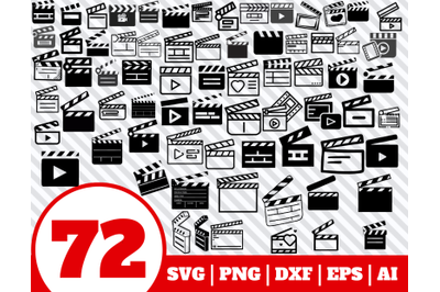 72 CLAPPERBOARD SVG BUNDLE - Clapperboard clipart - Clapperboard