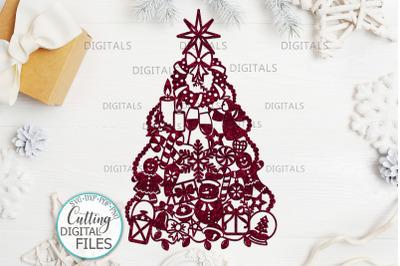 Assorted Christmas Tree Decoration svg laser cut papercut template