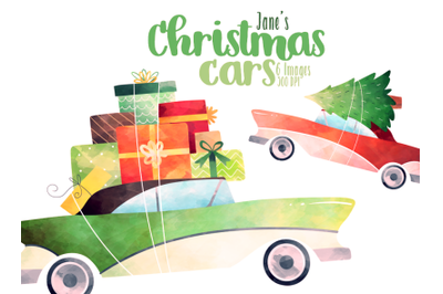 Watercolor Christmas Car Clipart