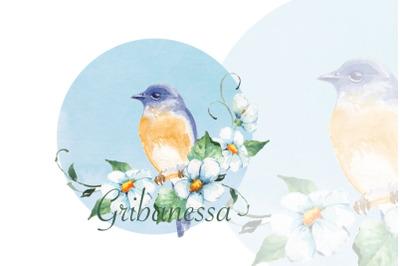 Watercolor bird on blue