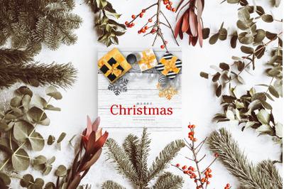 Merry Christmas Greetins Card Mockup