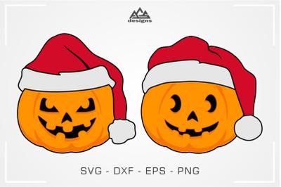 Funny Santa Pumpkin Halloween Svg Design
