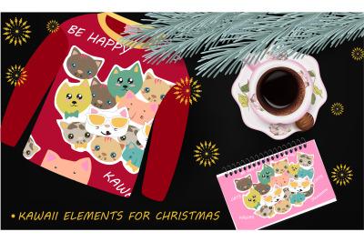 Kawaii Christmas Elements