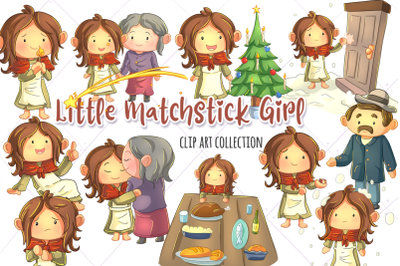 Little Matchstick Girl Story Book Clip Art