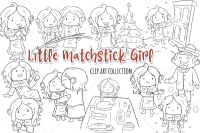 Little Matchstick Girl Digital Stamps