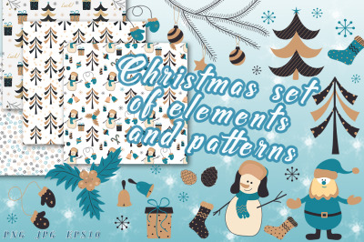 Christmas set of elements and patterns