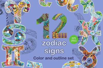 Set of beautiful zodiac signs. Color and outline set
