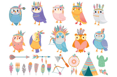 Wild tribal owl. Cartoon owls with tribals feathers, forest birds and