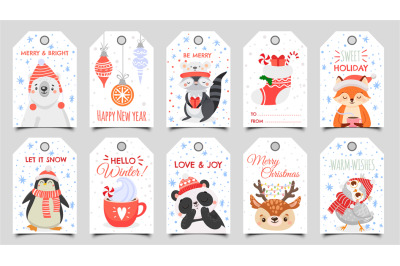 Cute animals christmas tags. Holiday gift tag with winter owl, deer an
