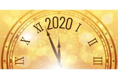 Shiny 2020 New Year poster. Christmas celebration clocks countdown on