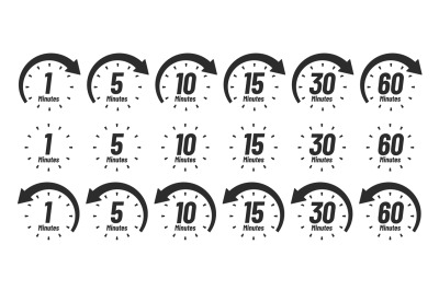 Minutes time icon. Analog clock Icons, 1 5 10 15 30 60 minute clocks a