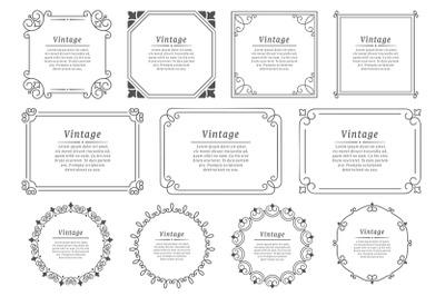 Royal hand drawn text frame. Retro elegant graphic frame, vintage orna